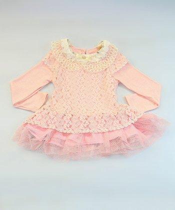 Mia Belle Baby Pink Crocheted Collar Ruffle Tunic - Girls