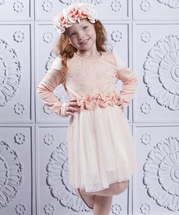Mia Belle Baby Pink & White Lace Ruffle Layered Dress - Toddler & Girls