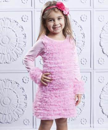 Mia Belle Baby Pink Ruffle Swing Dress - Girls