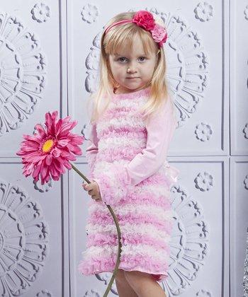 Mia Belle Baby Pink & Crème Ruffle Swing Dress - Toddler & Girls