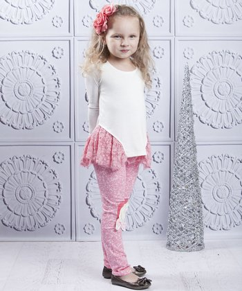 Crème & Dusty Rose Lace Tunic & Leggings - Toddler & Girls