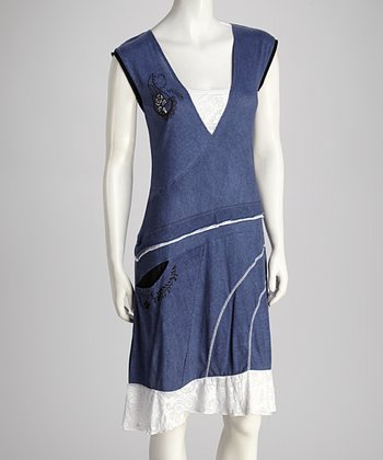 Denim Blue & White Dress - Women