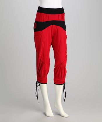 Red Cropped Pants - Women