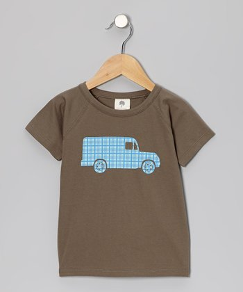 Charcoal Plaid Truck Organic Tee - Infant