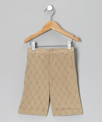 Taupe Argyle Organic Shorts - Infant & Toddler