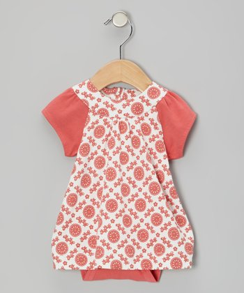 Coral Mod Flower Organic Skirted Bodysuit - Infant