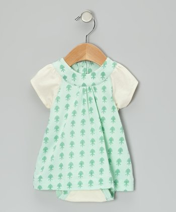 Aqua Fleur Plume Organic Skirted Bodysuit - Infant