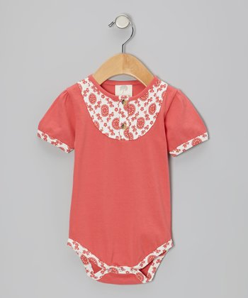 Coral Mod Flower Pintuck Organic Bodysuit - Infant