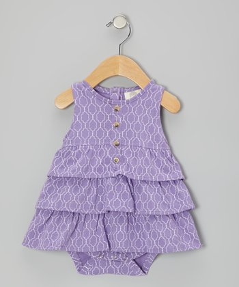 Purple Plum Moroccan Ruffle Organic Skirted Bodysuit - Infant
