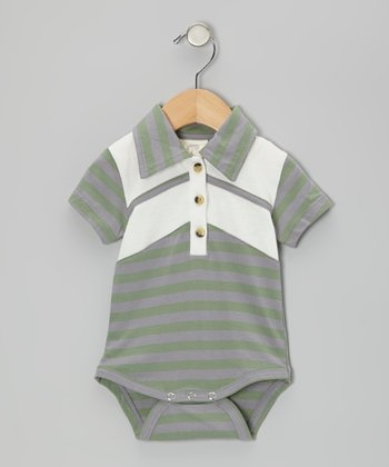 Rosemary Stripe Organic Polo Bodysuit - Infant
