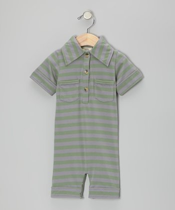 Rosemary Stripe Organic Polo Romper - Infant