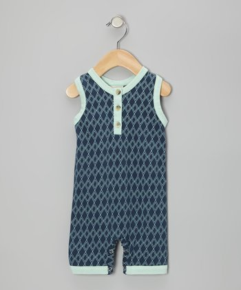 Twilight Argyle Organic Racerback Romper - Infant
