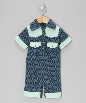 Twilight Argyle Organic Polo Romper - Infant