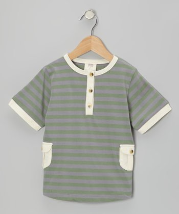 Rosemary Stripe Organic Henley - Infant