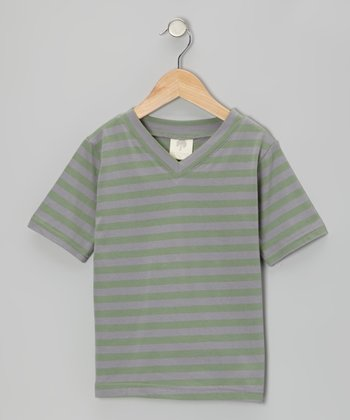 Rosemary Stripe Organic V-Neck Tee - Infant