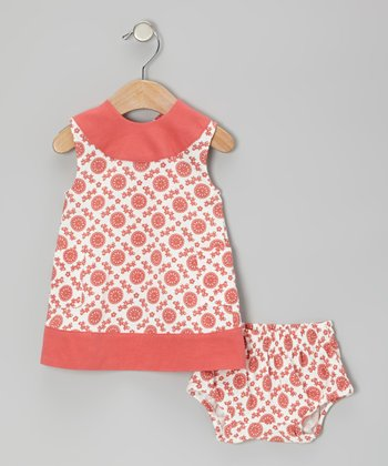 Coral Mod Flower Organic Pinafore & Diaper Cover - Infant