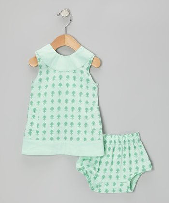 Aqua Fleur Plume Organic Pinafore & Diaper Cover - Infant