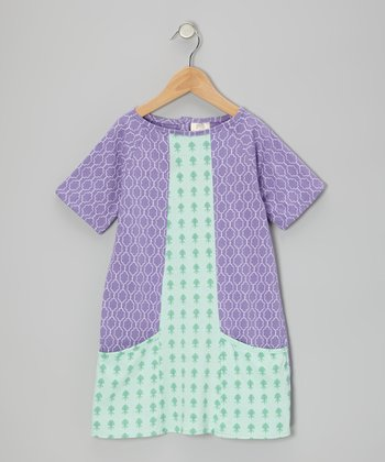 Purple & Aqua Organic Pocket Dress - Infant & Toddler