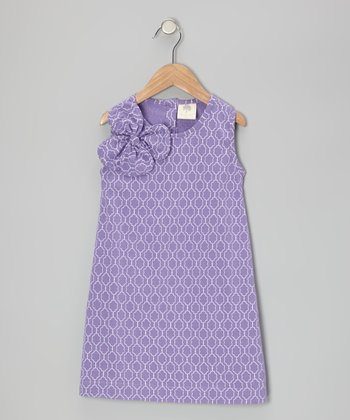 Purple Plum Moroccan Bow Organic Dress - Infant & Toddler