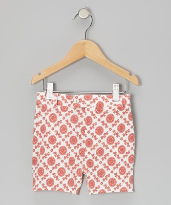 Coral Mod Flower Organic Shorts - Infant, Toddler & Girls