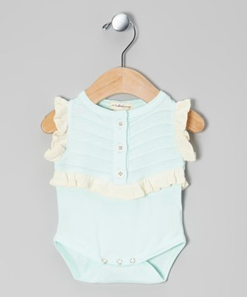 Little Bird Blue Pintuck Ruffle Knit Organic Bodysuit - Infant