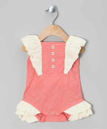 Strawberry Ruffle Quilted Organic Bubble Bodysuit - Infant