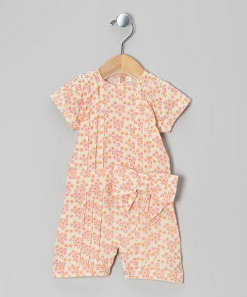 Calico Pintuck Bow Woven Organic Sailor Romper - Infant & Toddler