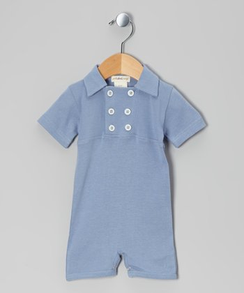Starry Night Rib Knit Organic Double-Breasted Romper - Infant