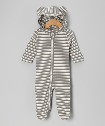 Plum Bunny Stripe Bear Organic Sweater Footie - Infant