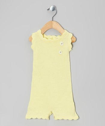 Finch Yellow Scallop Organic Sweater Romper - Infant