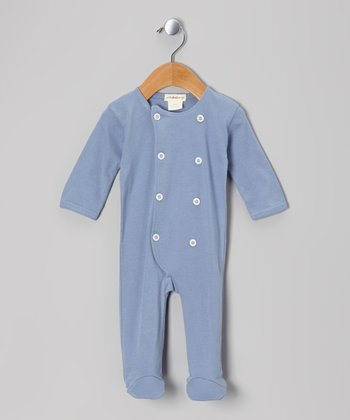 Starry Night Rib Knit Organic Double-Breasted Footie - Infant
