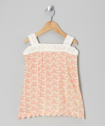 Calico Pintuck Lace Woven Organic Top - Infant, Toddler & Girls