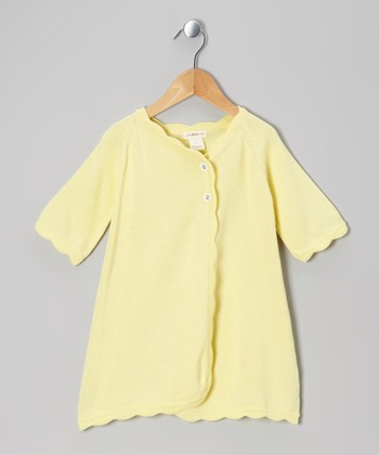 Finch Yellow Scallop Organic Cardigan - Toddler
