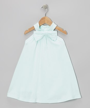 Little Bird Blue Bow Knit Organic Dress - Girls
