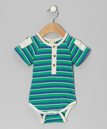 Green & Blue Stripe Pocket Organic Bodysuit - Infant