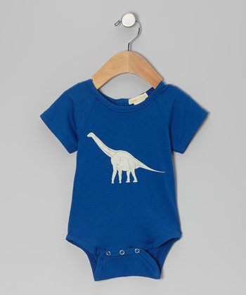 Blue Dinosaur Organic Bodysuit - Infant