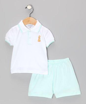 Green & White Happy Giraffe Polo & Shorts - Infant