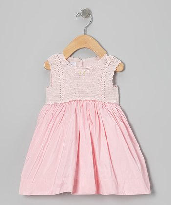 Pink Crocheted A-Line Dress - Infant