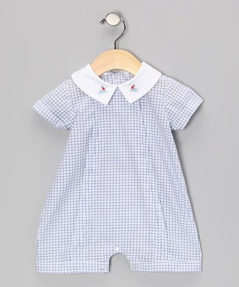 Blue Gingham Sailor Romper - Infant