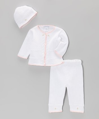 White & Pink Take Me Home Cardigan Set - Infant