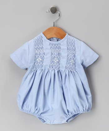 Blue Tom Smocked Bubble Bodysuit - Infant