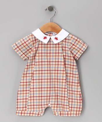 Red Plaid Max Embroidered Romper - Infant