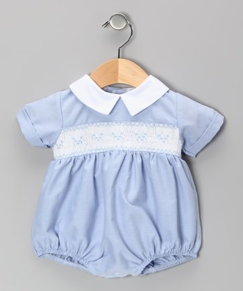 Blue Jacob Smocked Bubble Bodysuit - Infant
