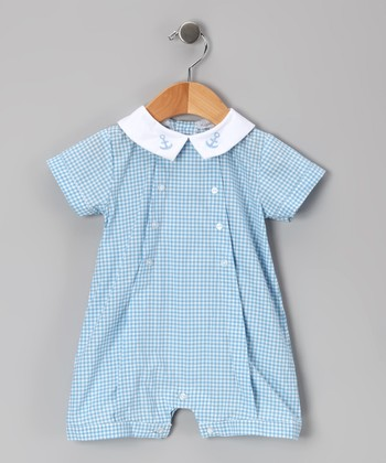 Blue Gingham Anchor Romper - Infant