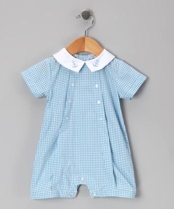 Blue Gingham Anchor Romper - Infant