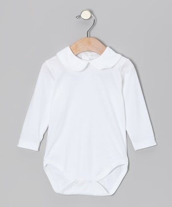 White Peter Pan Collar Bodysuit - Infant & Toddler