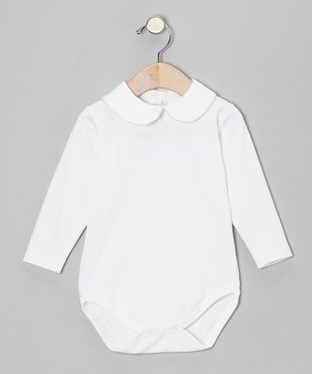 White & Pink Collar Bodysuit - Infant & Toddler