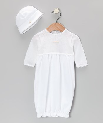White Little Luxury Gown & Beanie - Infant