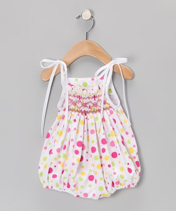 Pink Polka Dot Smocked Bubble Bodysuit - Infant