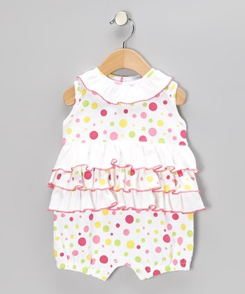 White Happy Dots Bubble Romper - Infant